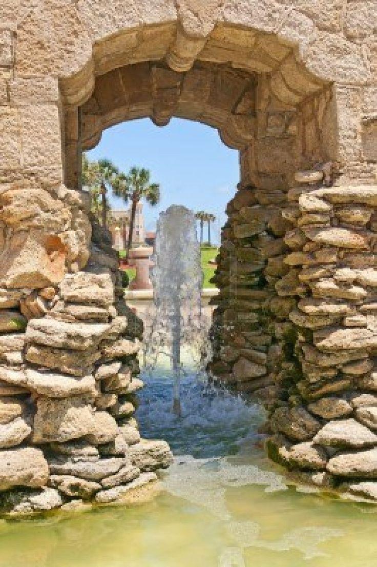 Stone Fountain on boardwalk at Daytona Beach, Florida.