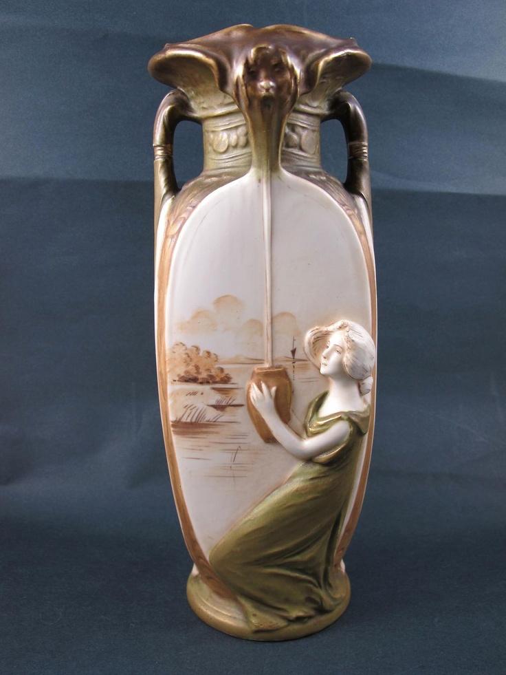 Art Nouveau Royal Dux Figural Vase