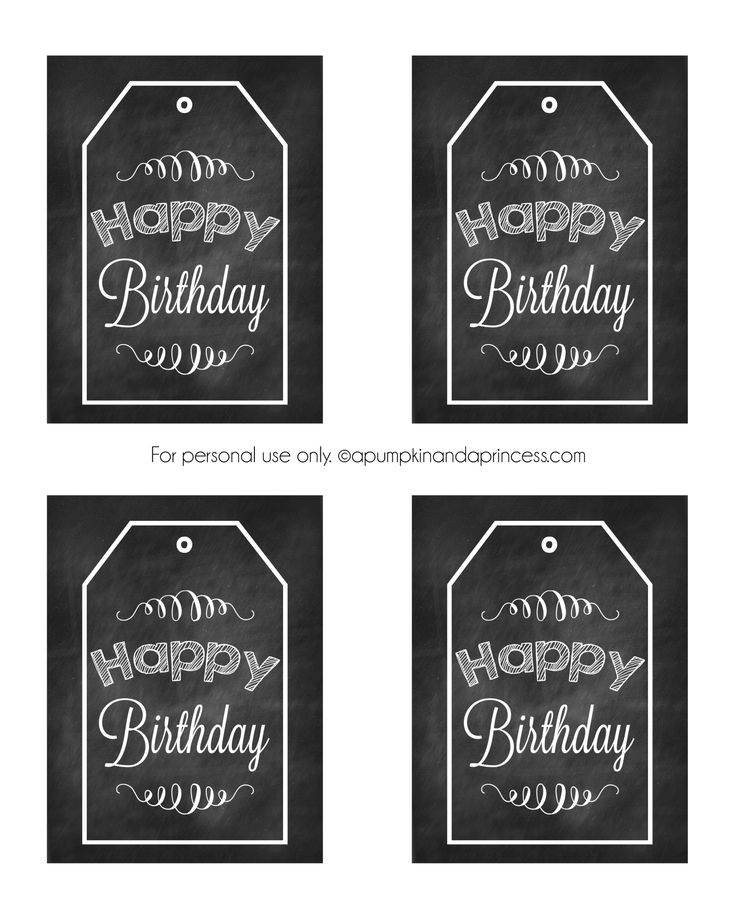 Chalkboard Birthday Tag Printable