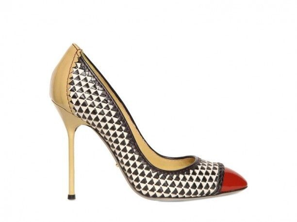 Sergio Rossi Clash Woven Leather Pumps in Multicolor (multi)
