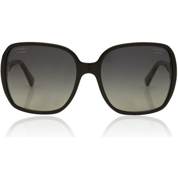 Chanel Black Large Rectangular Polarised Sunglasses found on Polyvore