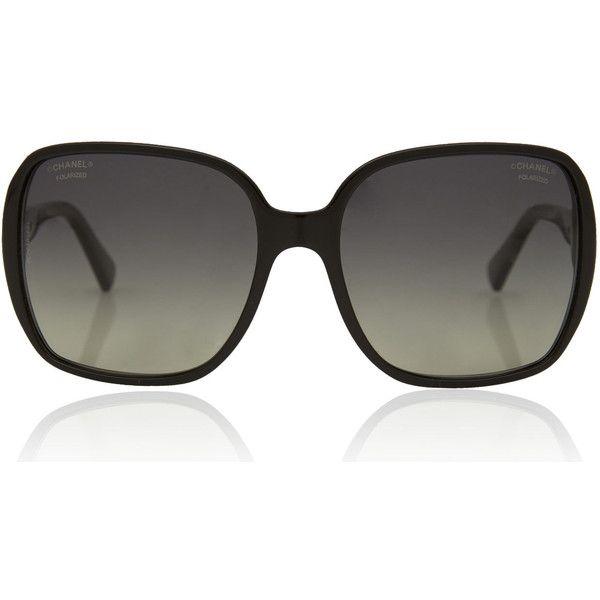 Chanel Black Large Rectangular Polarised Sunglasses found on Polyvore