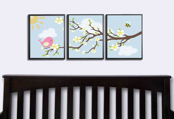 Peinture Chambre Bebe Bleu Nuit : Blossom Girls Artwork Set of 3 8×10 Art by FinalTouchesArtwork, $1650