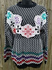 Vintage Ski Sweater Snowflakes Med 100% Acrylic Black White Colorful Retro in Clothing, Shoes & Accessories, Women's Clothing, Sweaters | eBay