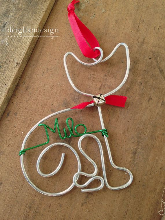 Cat Pet Ornament - Handcrafted Wire Cat .... I WANT to try this!! Without the personalized name ;-)