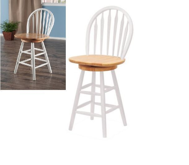 Wooden Swivel Bar Stool Counter Seat High Chair Classic Back Wood 24in Height #WoodenSwivelBarStool #Traditional