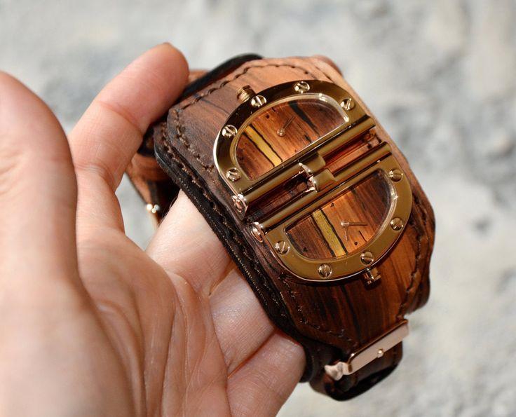 Mens wrist watch - Leather watch - Steampunk watch - Women watch Wrist watch Steampunk wrist watch - Vintage watch men Steampunk Armbanduhr by FamilySkinersStyle to Etsy
