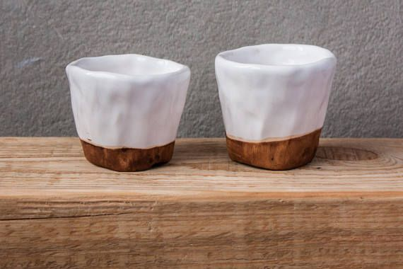 Simple and laconic TWO ceramic shot glass set. Perfect and unique christmas for him or groomsman gifts japan pottery, small glass, wabi sabi tumbler, white drink short, ceramic drink glass, glazed  The cups are made in a traditional hand built technic without potters wheel. Thats why these cups has an incredible texture - because my fingertips on it. Measures:  5 cm (2) wide and 4,5 cm (1,8) deep bulk of each - 25 ml (0,8 oz)  You can MIX & MATCH it with the following items in my shop: cu...