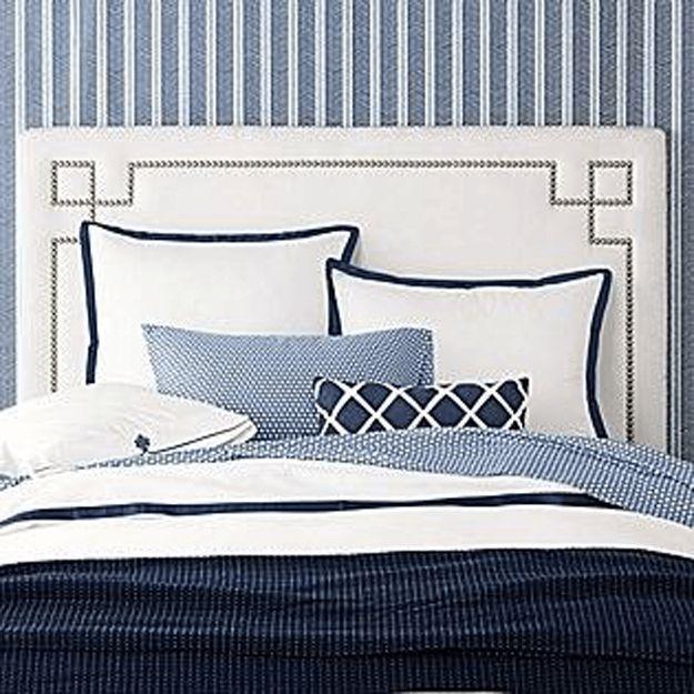 Navy Blue And White Bedroom With Herringbone Wallpaper Cobalt Blue Royal Blue Dark Blue Indigo Blue Pantone Navy Peony Blue Bedroom Home Bedroom Design