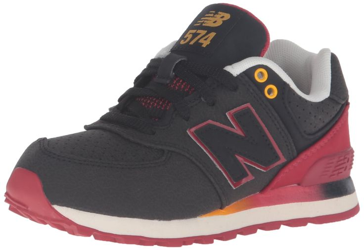 New Balance KL574V1 Pre Gradient Pack Fashion Sneaker (Little Kid), Black/Red, 3 W US Little Kid. Ethylene vinyl acetate midsole and heel. Thermoplastic polyurethane heel clip.