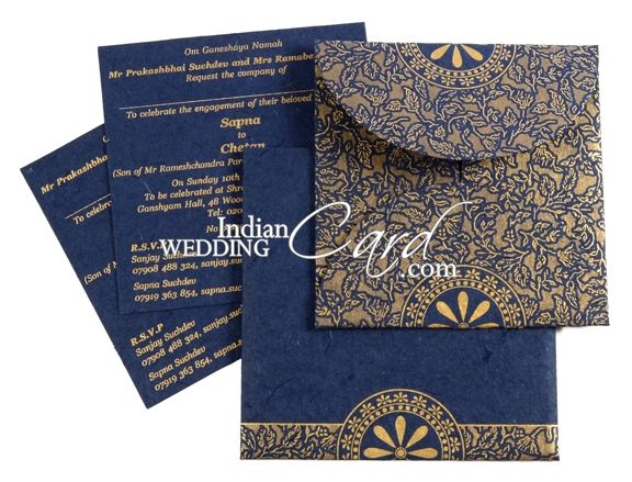 D 3640 Blue Color Handmade Paper Light Weight Cards Designer Multifaith Invitations Engagement Invitations Engagement Invitations Engagement Invitation Card Design Invitation Card Design