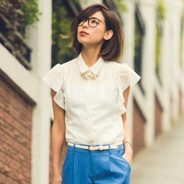 ラッフルスリーブチェック柄比翼ブラウス/ ruffle sleeve blouse on ShopStyle
