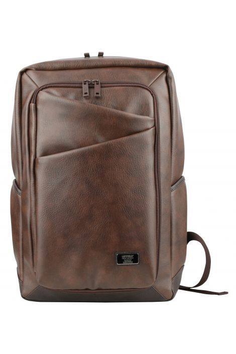4df10ac6f8 Dark Brown Faux Leather Casual Daypacks Backpacks
