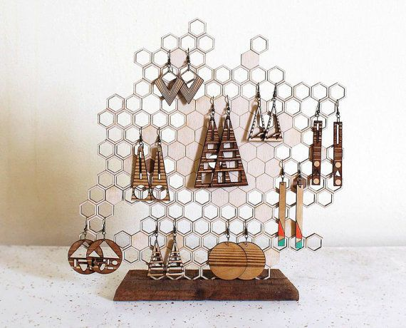 Honeycomb Jewelry Holder - Moraye Original Design >>>>  Baltic Birch laser cut honeycomb earring and/or necklace stand. A natural way to hang your