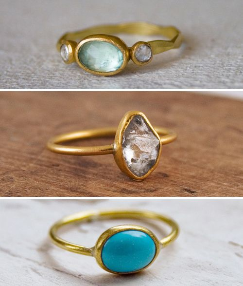 aquamarine, rough cut white sapphire? diamond?  turquoise gold rings