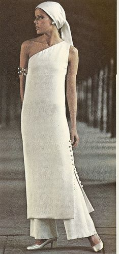 White Sheath Dress over Pants By Christian Dior