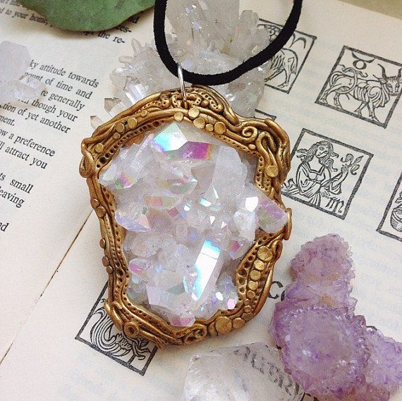 Angel Opal Aura Quartz & Clear Quartz Statement - Wicca Hippie Heady Occult Cosmic Rave - Polymer Clay Crystal Pendant - Celestial Beings