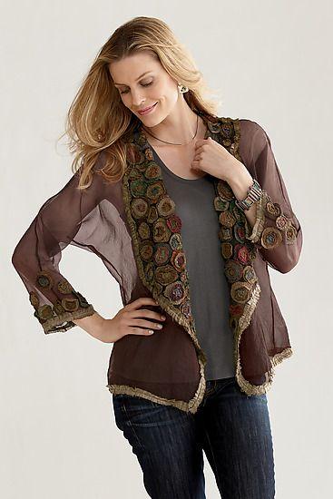 """Rose Garden Jacket""   Silk Jacket   by Deborah Murphy   $ 410 I would love this in something less sheer."