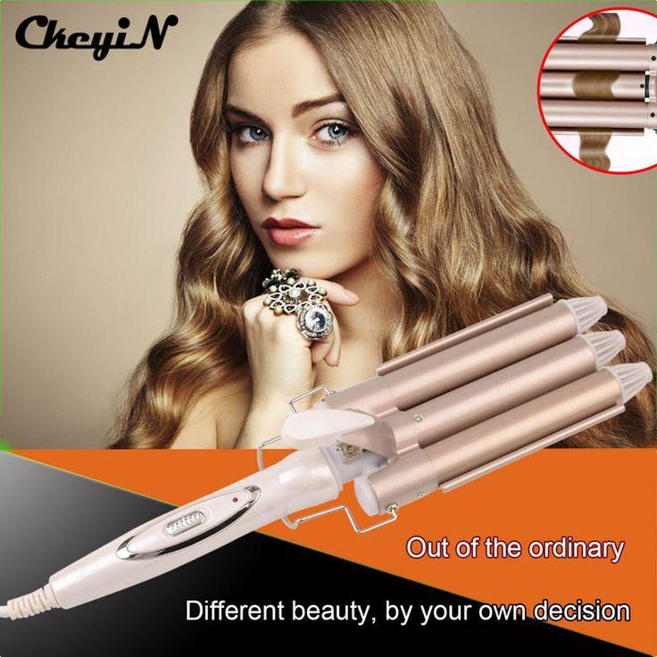 CkeyiN Perm Splint Deep Waver Hair Curling Iron Ceramic Triple Barrel Hair Curler Curly Hair Styling Tools Hair Styler 110-240V