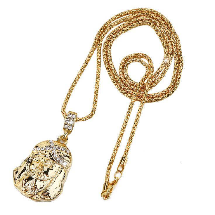 Trendy Gold Jesus Face Piece Pendant necklace Popcorn Chain Punk hip hop Style jewelry Sale