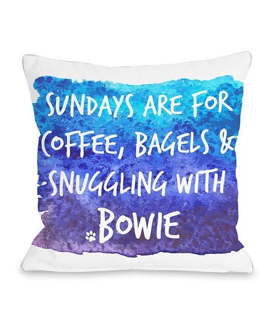 Blue 'Sundays are for Snuggling' Personalized Throw Pillow