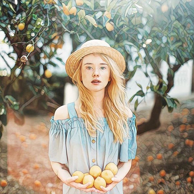 via @glebovaanastasia and #prisma #girl #peaches #summer #garden