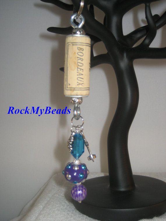 Wine Cork Key Chain-Wine Key Chain-Key Chain-Wine by RockMyBeads