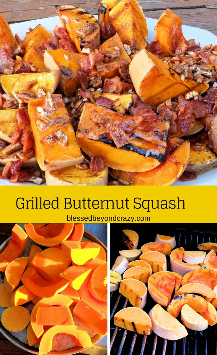 """Grilled Butternut Squash - not necessarily a """"pretty dish"""" but certainly a tasty one! We doctored ours up with some delicious toppings to send this grilled butternut squash over the top! #blessedbeyondcrazy #grilled #butternutsquash"""
