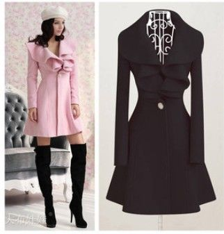 2014 New Women's Trench Coat Fashion Wool Blends Slim Thickening Coats Lovely Ruffle Decorate Outerwear M/L/XL/XXL CO-092