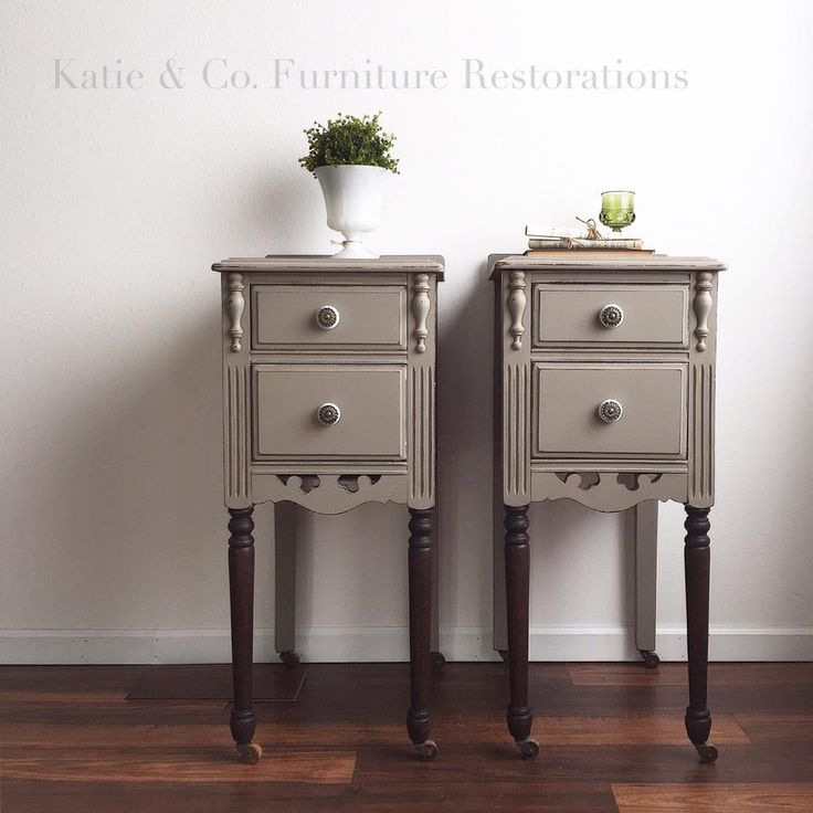 Painted Nightstands w Stained Legs