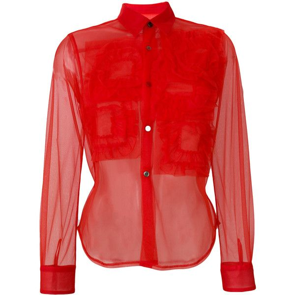 Comme Des Garçons Girl sheer ruffled shirt ($400) ❤ liked on Polyvore featuring tops, red, red sheer shirt, ruffle top, red top, shirt top and ruffled shirt