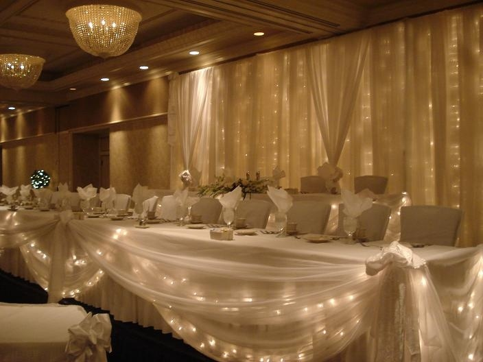 Tiered Wedding Head Table W Lighted Backdrop Royale