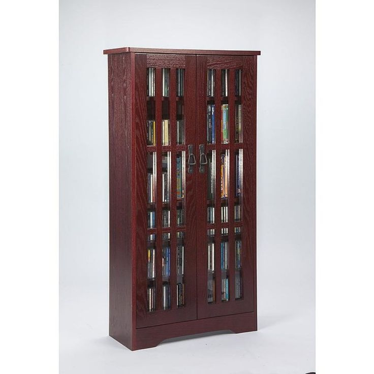 Leslie Dame Glass Door Tall Media Storage Cabinet