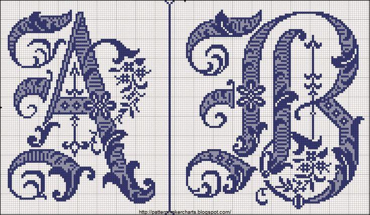 Hobby lavori femminili - ricamo - uncinetto - maglia: alfabeto molto elegante punto croce