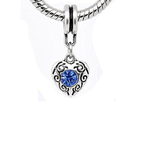 Heart March Light Blue Dangle Birthstone Charms For Snake Chain Charm Bracelet
