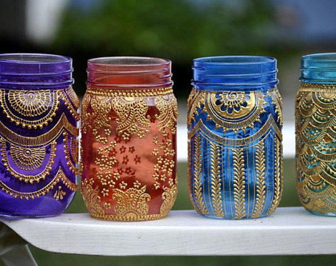 Conjunto de 15 tarro de masón marroquí Bohemia tintado linternas iluminación decoradas con diseños de Henna Party Decor eventos fiestas nupciales de la boda