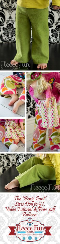 This simple and easy DIY pants pattern is perfect for little kids!  You can make these in under a half hour easily.  Free pattern and video tutorial.  Can also be made from Jersey knit (t-shirt fabric) for spring and summer. Perfect for Amira & her American girl doll ;-)