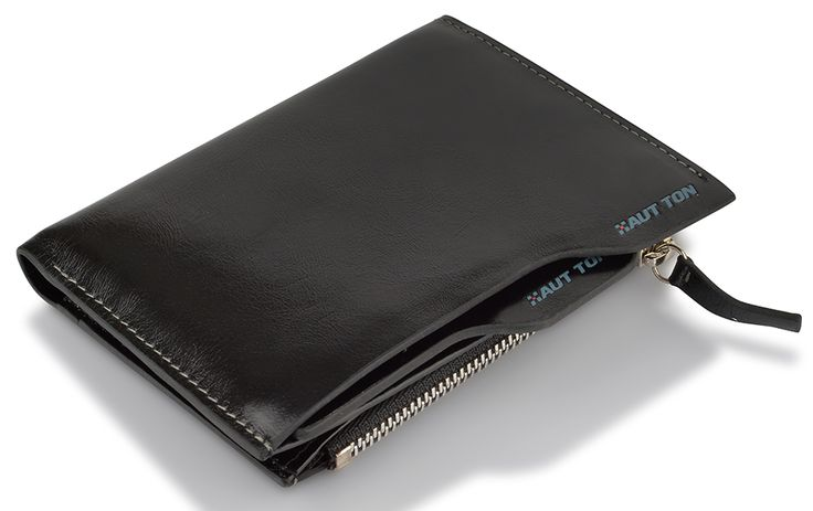 Hautton Black Leather Wallet with Coin Pocket - Medium Size