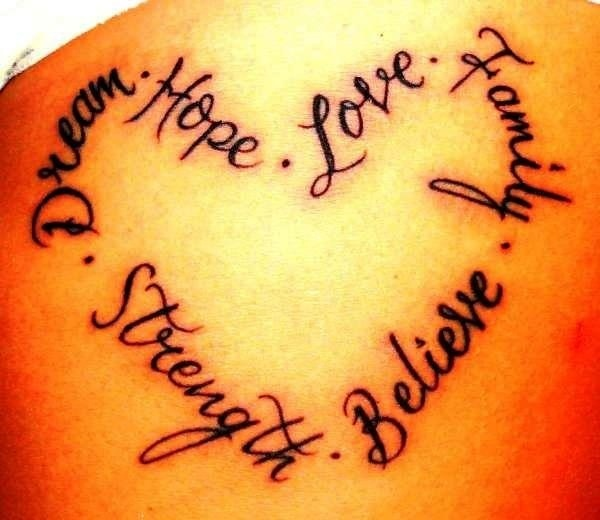 To add around my heart tattoo on my ankle from Vegas in 04.  Plain red heart now.  Outline in black, then these words inked around the edges
