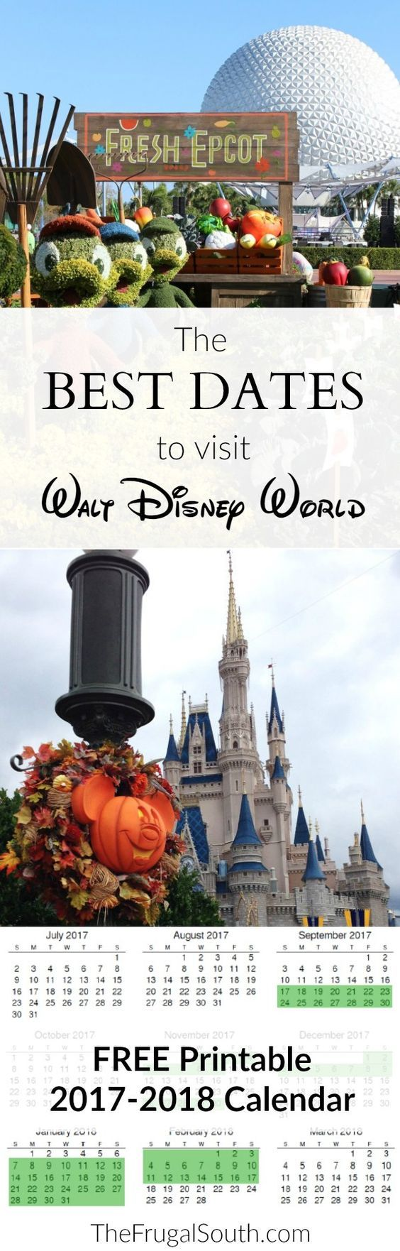 The best dates to visit Walt Disney World in 2017 & 2018 + free printable calendar. The time of year you visit Disney World can make a huge impact on your vacation experience! Get my Disney planning tips and tricks for the best weeks to visit Disney in this post.