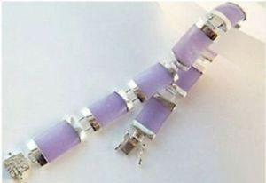 Красивая качество светло-фиолетовый джейд ссылка пряжка браслет-бесплатная 7.5  14 К гп серебряные украшения оптовая продажа 2 шт. 1 пара унисекс браслеты