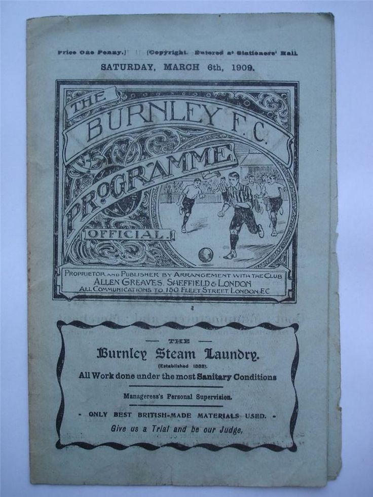 #mufcRARE Burnley V Manchester United FA Cup 4th Round Football Programme 1909 RARE
