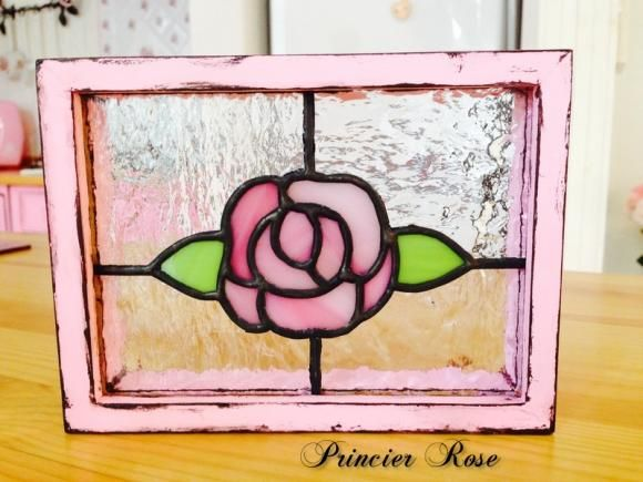 Stained Glass small panel「Antique Rose」 ステンドグラス 「アンティークローズ」