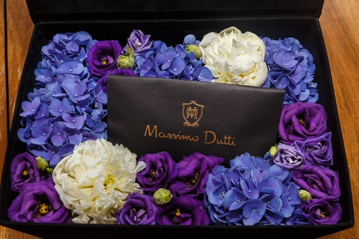 Flowers for Gentleman. Luxury flower box  Velvet box and floral arrangement  Hydrangea Peony Lisianthus