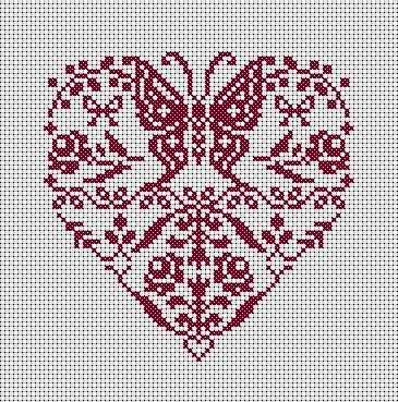 Cross-stitch Butterfly heart... no color chart available, just use pattern chart as your color guide.. or choose your own colors... x-stitch St Valentine