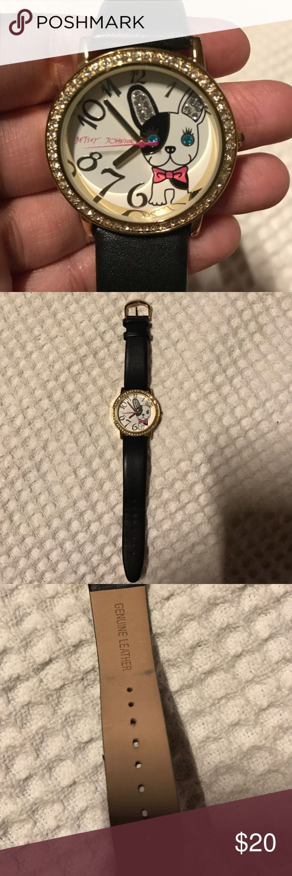 Betsey Johnson watch Adorable French bulldog watch. Needs new battery. Slight wear in leather band. Betsey Johnson Accessories Watches
