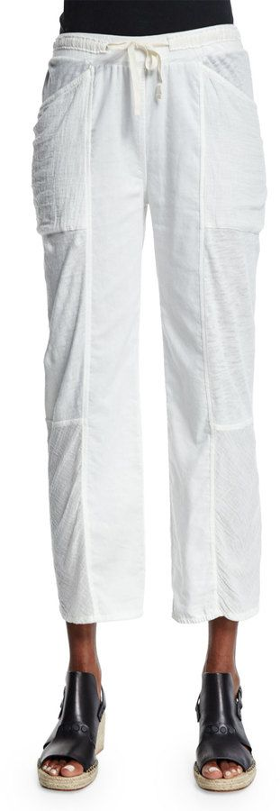 Skin Meryl Straight-Leg Cropped Pants, Crane White