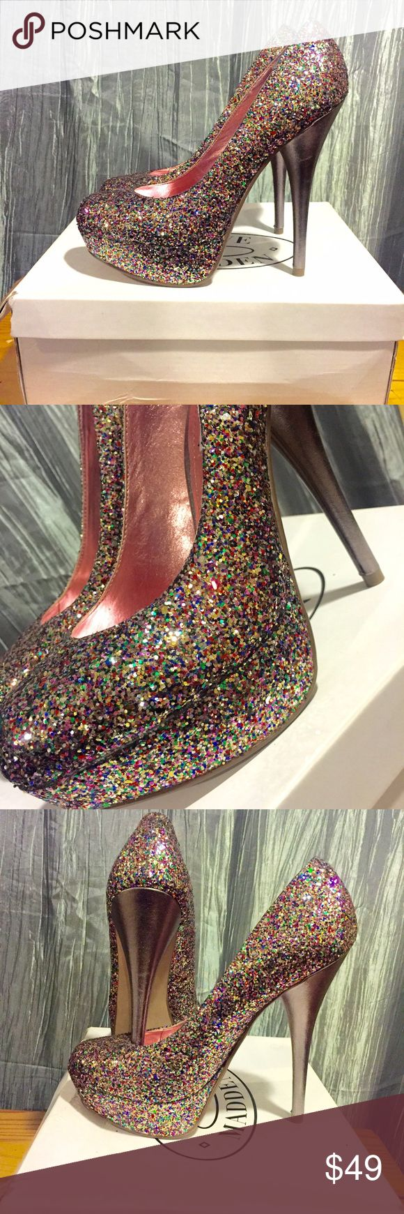 NEW Steve Madden high heels Brand New in original box Steve Madden Blain Multi Colored high heels. Light up your night with these amazing unique shoes ! From a Pet Free 💛 and Smoke Free home 🚫 Steve Madden Shoes Heels