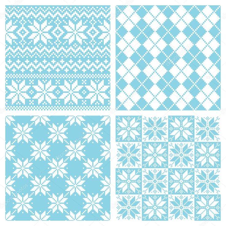 Conjunto de ilustração de padrão de cristal de neve