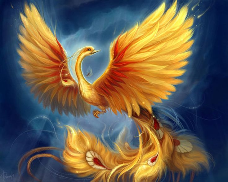 image of the phoenix, a majestic bird with huge wings spread out, its head tilted to the left